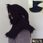 Deluxe Medieval Hood With Fur Trim - Black